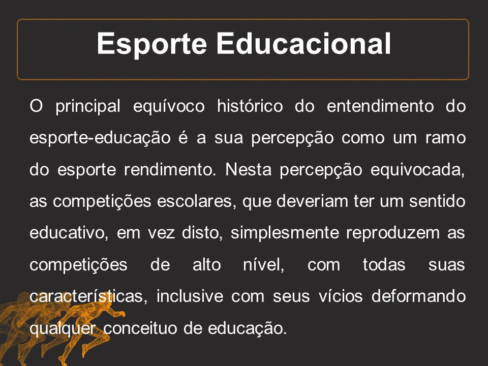 Esporte Educacional O principal equívoco histórico do entendimento do esporte-educação é a sua percepção como um ramo do esporte rendimento. Nesta per