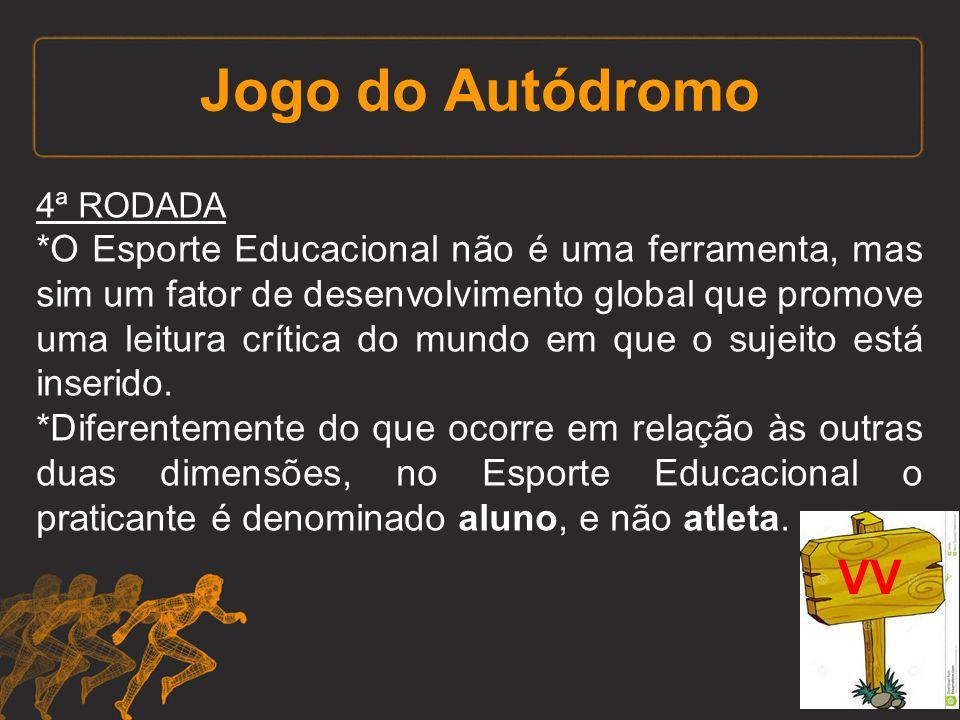 Jogo do Autódromo 4ª RODADA *O Esporte Educacional não é uma ferramenta, mas sim um fator de desenvolvimento global que promove uma leitura crítica do