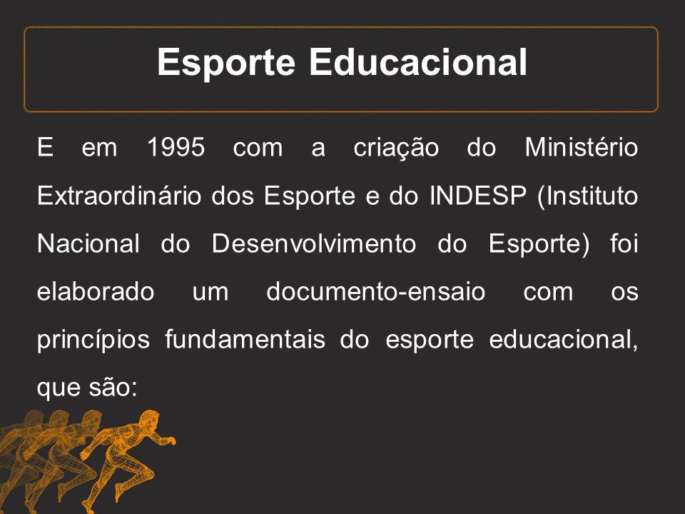 Esporte Educacional E em 1995 com a criação do Ministério Extraordinário dos Esporte e do INDESP (Instituto Nacional do Desenvolvimento do Esporte) fo