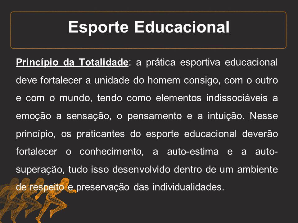 Esporte Educacional Princípio da Coeducação: o esporte educacional integra situações heterogêneas de sexo, idade, nível socio- econômico, condições físicas, etc.