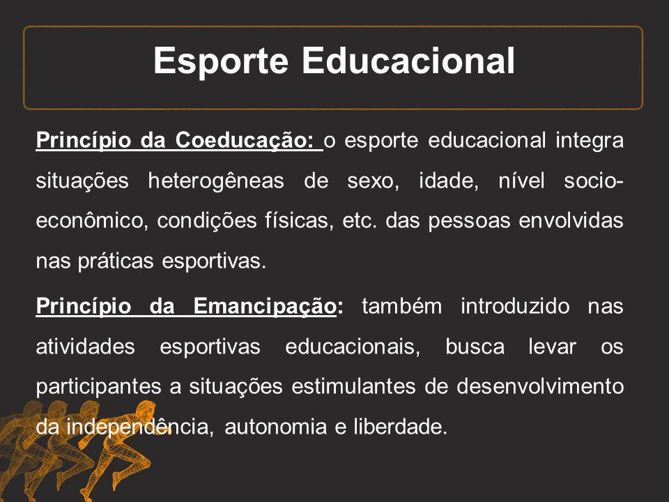Esporte Educacional Princípio da Coeducação: o esporte educacional integra situações heterogêneas de sexo, idade, nível socio- econômico, condições fí