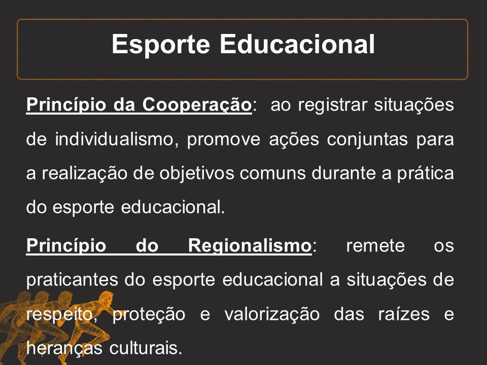 Esporte Educacional Princípio da Cooperação: ao registrar situações de individualismo, promove ações conjuntas para a realização de objetivos comuns d