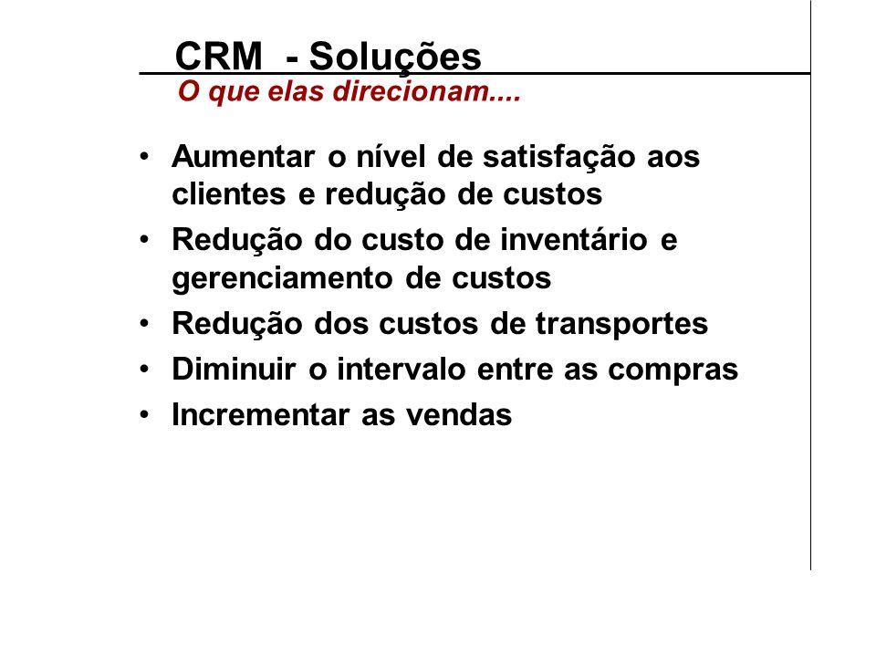 Alguns Fornecedores de Soluções CRM já anunciados no Brasil: SIEBEL ( diversos módulos) Datasul CRM ( Siebel e outros) SAP ( Customer Interaction Center) IBM ( CorePoint) VANTIVE ( comprada pela PeopleSoft) Clarify ( comprada pela Nortel Networks) ORACLE ( Oracle CRM)....> detalhes adicionais nos respectivos sites