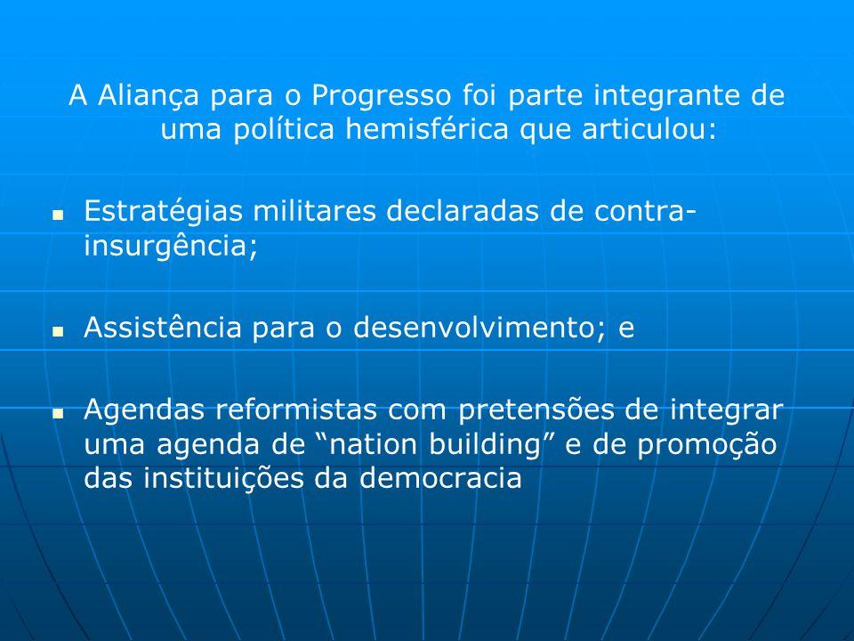 A Aliança para o Progresso foi parte integrante de uma política hemisférica que articulou: Estratégias militares declaradas de contra- insurgência; Assistência para o desenvolvimento; e Agendas reformistas com pretensões de integrar uma agenda de nation building e de promoção das instituições da democracia