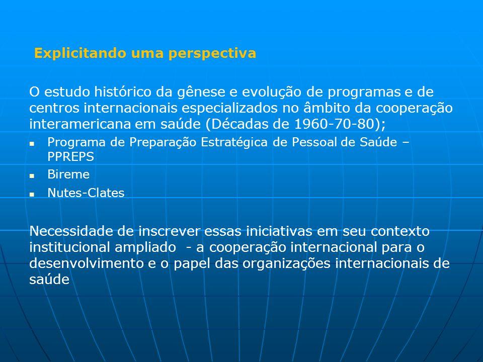 Explicitando uma perspectiva O estudo histórico da gênese e evolução de programas e de centros internacionais especializados no âmbito da cooperação i