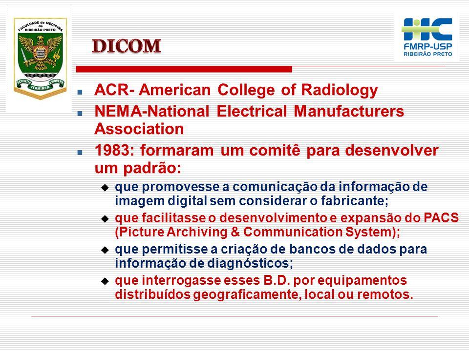 n ACR- American College of Radiology n NEMA-National Electrical Manufacturers Association n 1983: formaram um comitê para desenvolver um padrão: u que