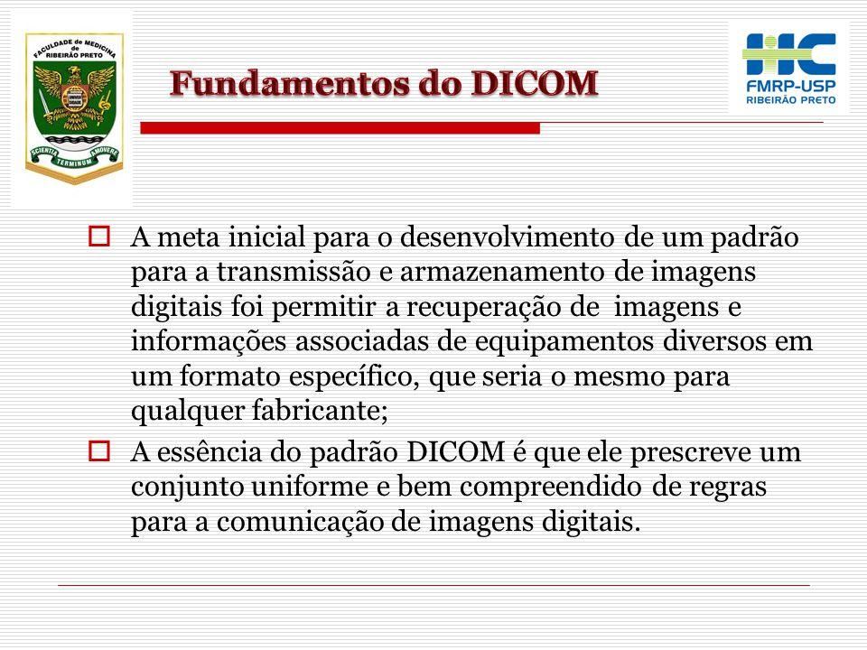  A meta inicial para o desenvolvimento de um padrão para a transmissão e armazenamento de imagens digitais foi permitir a recuperação de imagens e in