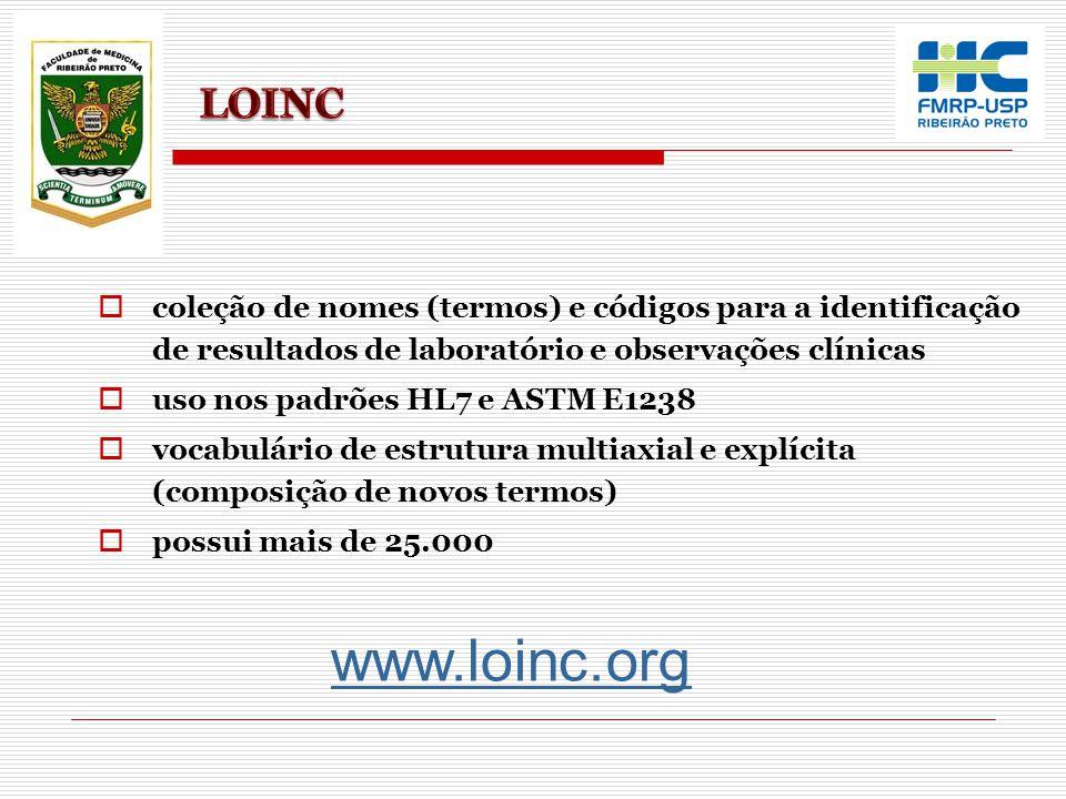 www.loinc.org  coleção de nomes (termos) e códigos para a identificação de resultados de laboratório e observações clínicas  uso nos padrões HL7 e A