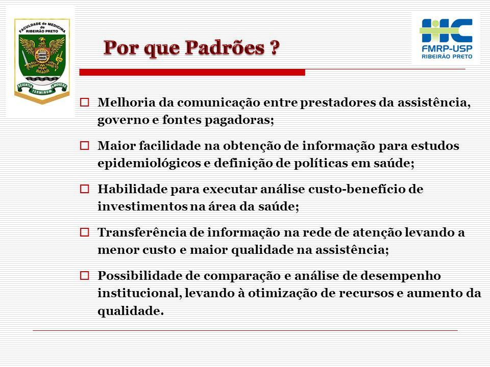  Melhoria da comunicação entre prestadores da assistência, governo e fontes pagadoras;  Maior facilidade na obtenção de informação para estudos epid