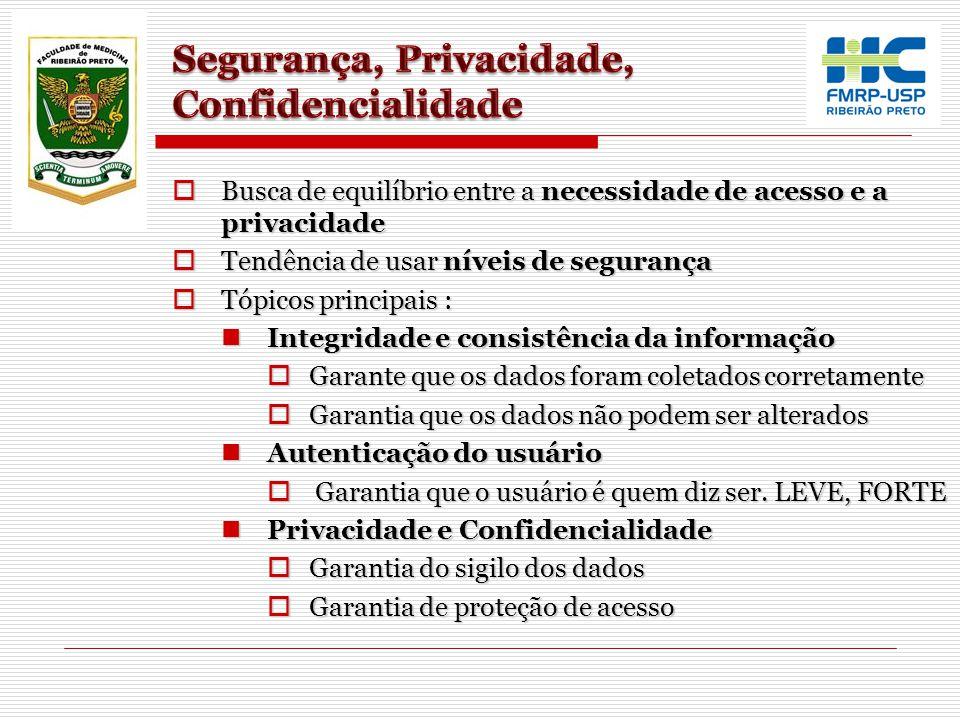  Busca de equilíbrio entre a necessidade de acesso e a privacidade  Tendência de usar níveis de segurança  Tópicos principais : Integridade e consi