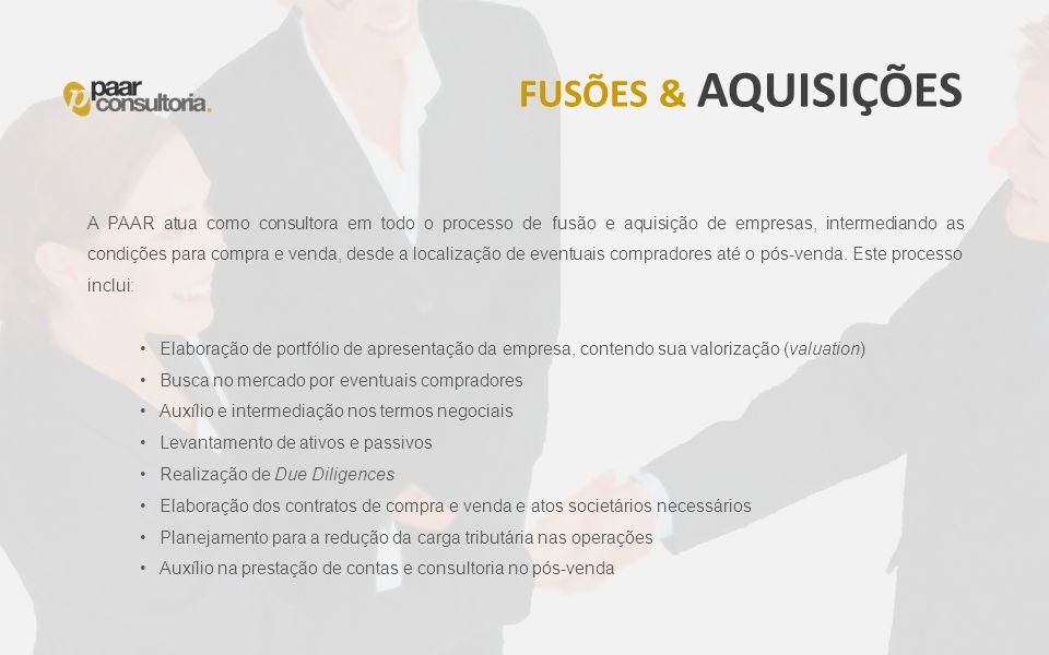 A PAAR atua como consultora em todo o processo de fusão e aquisição de empresas, intermediando as condições para compra e venda, desde a localização d