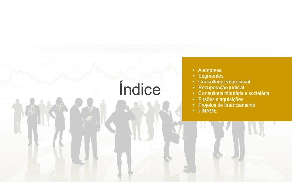 Índice A empresa Segmentos Consultoria empresarial Recuperação judicial Consultoria tributária e societária Fusões e aquisições Projetos de financiame