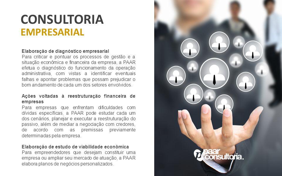 CONSULTORIA EMPRESARIAL Elaboração de diagnóstico empresarial Para criticar e pontuar os processos de gestão e a situação econômica e financeira da em
