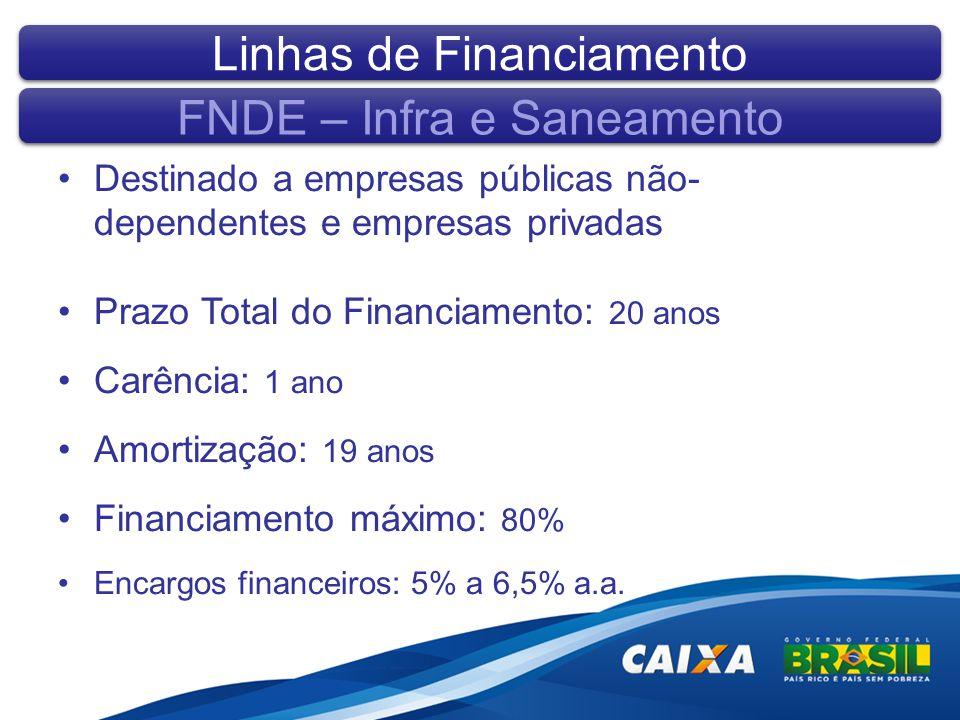 Destinado a empresas públicas não- dependentes e empresas privadas Prazo Total do Financiamento: 20 anos Carência: 1 ano Amortização: 19 anos Financiamento máximo: 80% Encargos financeiros: 5% a 6,5% a.a.