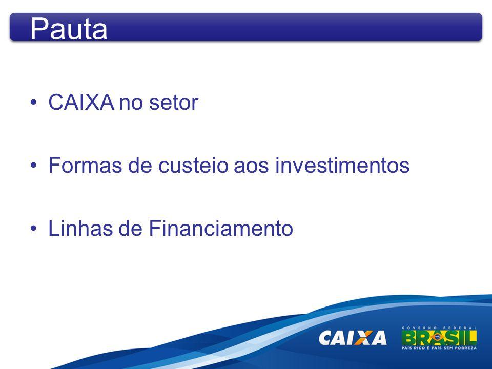 CAIXA no setor Formas de custeio aos investimentos Linhas de Financiamento Pauta