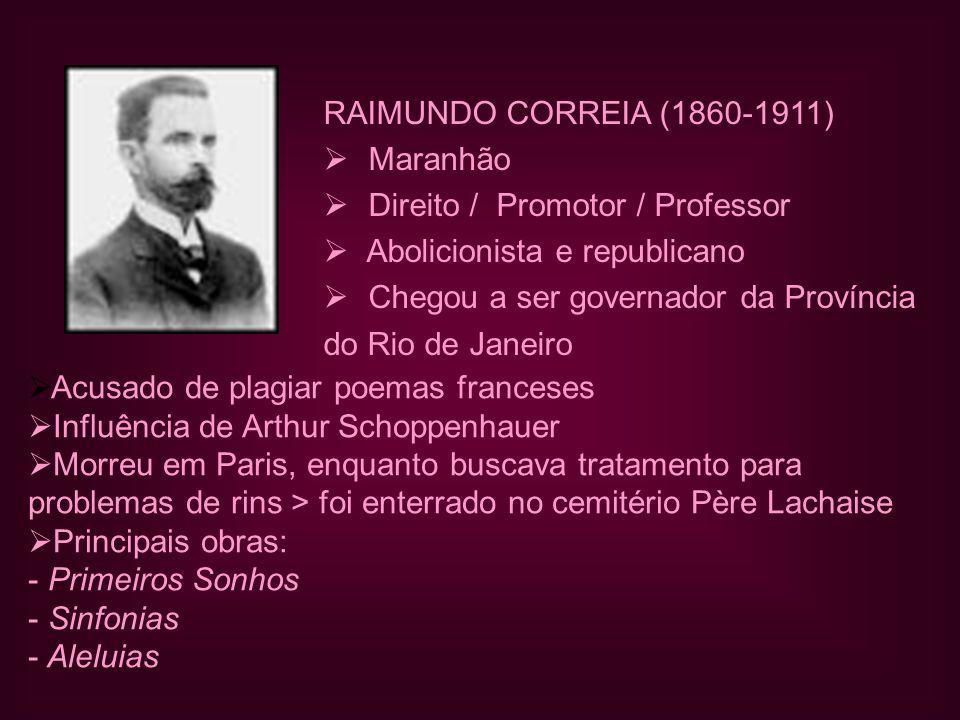 RAIMUNDO CORREIA (1860-1911)  Maranhão  Direito / Promotor / Professor  Abolicionista e republicano  Chegou a ser governador da Província do Rio d
