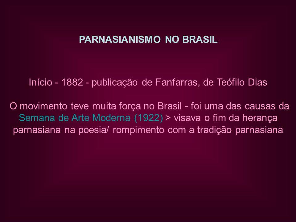 PARNASIANISMO NO BRASIL Início - 1882 - publicação de Fanfarras, de Teófilo Dias O movimento teve muita força no Brasil - foi uma das causas da Semana de Arte Moderna (1922) > visava o fim da herança parnasiana na poesia/ rompimento com a tradição parnasiana