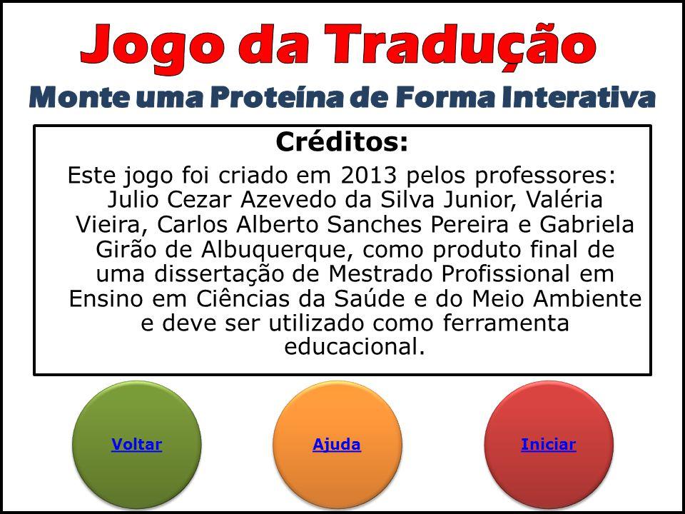 Créditos: Este jogo foi criado em 2013 pelos professores: Julio Cezar Azevedo da Silva Junior, Valéria Vieira, Carlos Alberto Sanches Pereira e Gabrie