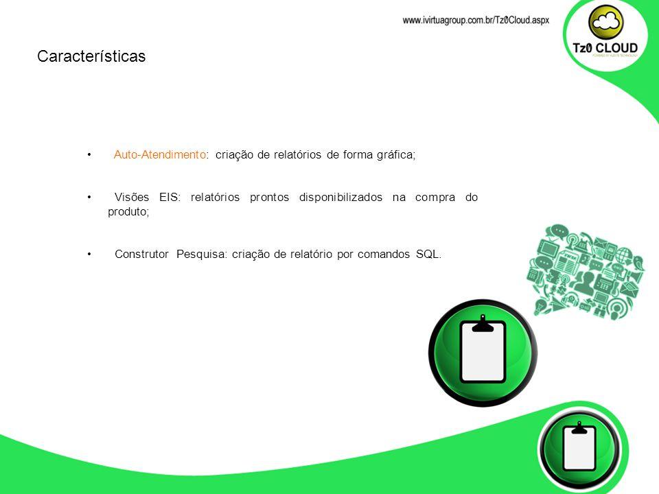 Auto-Atendimento: criação de relatórios de forma gráfica; Visões EIS: relatórios prontos disponibilizados na compra do produto; Construtor Pesquisa: c