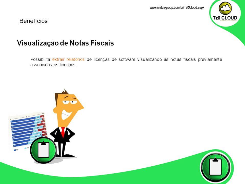 Visualização de Notas Fiscais Possibilita extrair relatórios de licenças de software visualizando as notas fiscais previamente associadas as licenças.