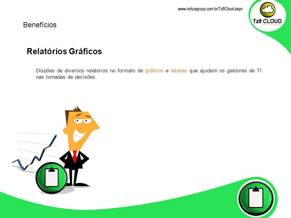 Relatórios Gráficos Dispões de diversos relatórios no formato de gráficos e tabelas que ajudam os gestores de TI nas tomadas de decisões.