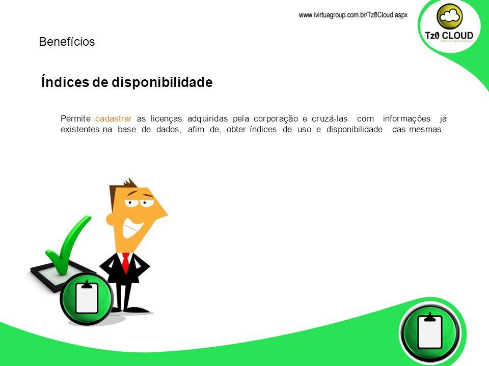 Índices de disponibilidade Permite cadastrar as licenças adquiridas pela corporação e cruzá-las com informações já existentes na base de dados, afim d