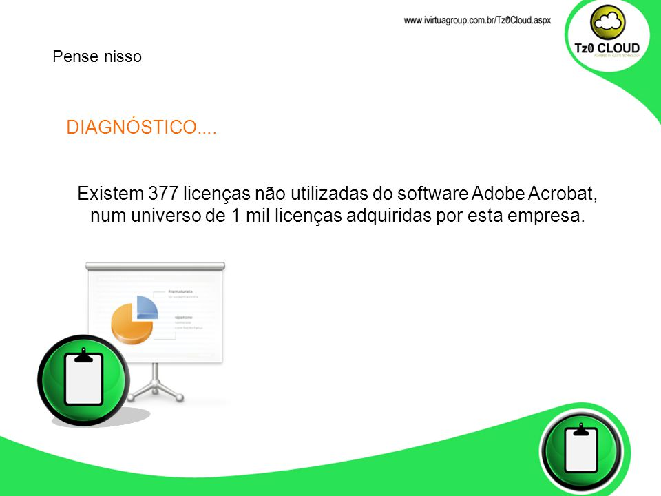 DIAGNÓSTICO.... Existem 377 licenças não utilizadas do software Adobe Acrobat, num universo de 1 mil licenças adquiridas por esta empresa. Pense nisso