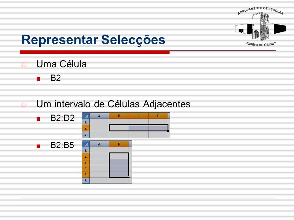 Representar Selecções  Uma Célula B2  Um intervalo de Células Adjacentes B2:D2 B2:B5