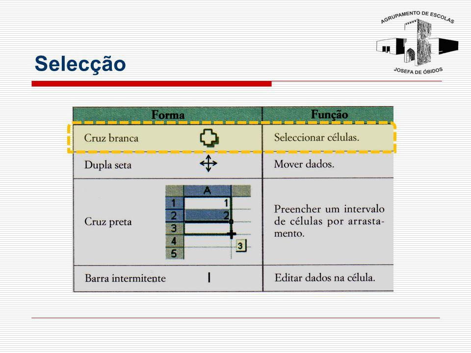 Selecção de células e intervalos Para seleccionar Fazer Uma célula Clicar na célula com o rato em forma de cruz branca ou premir as teclas de direcção.