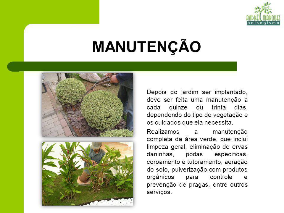 MANUTENÇÃO Depois do jardim ser implantado, deve ser feita uma manutenção a cada quinze ou trinta dias, dependendo do tipo de vegetação e os cuidados