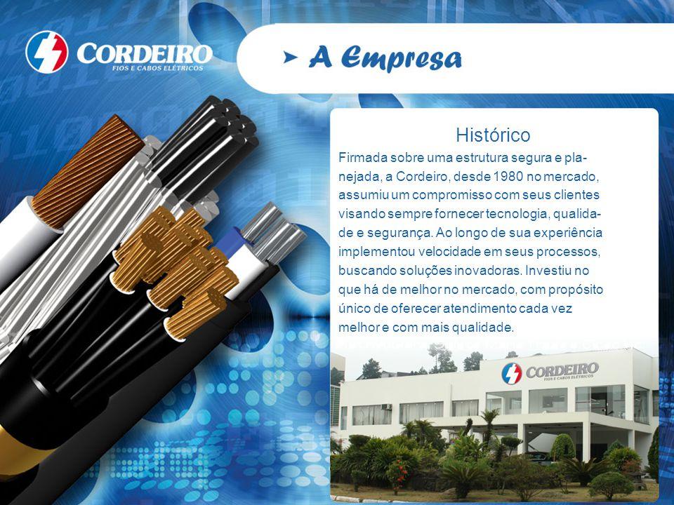 Histórico Firmada sobre uma estrutura segura e pla- nejada, a Cordeiro, desde 1980 no mercado, assumiu um compromisso com seus clientes visando sempre