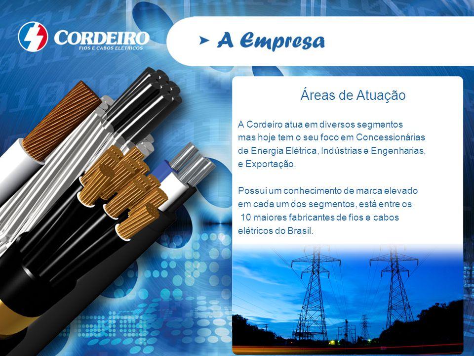 Áreas de Atuação A Cordeiro atua em diversos segmentos mas hoje tem o seu foco em Concessionárias de Energia Elétrica, Indústrias e Engenharias, e Exp