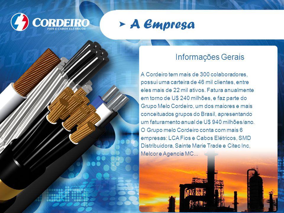 Informações Gerais A Cordeiro tem mais de 300 colaboradores, possui uma carteira de 46 mil clientes, entre eles mais de 22 mil ativos. Fatura anualmen