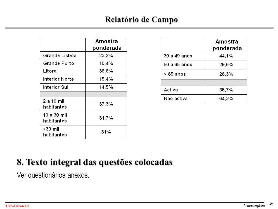 16 Venotrópicos TNS-Euroteste Relatório de Campo 8.