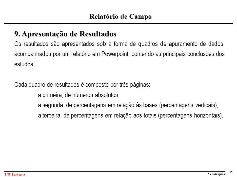 17 Venotrópicos TNS-Euroteste Relatório de Campo 9.