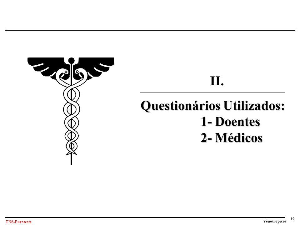 19 Venotrópicos TNS-Euroteste Questionários Utilizados: 1- Doentes 2- Médicos II.