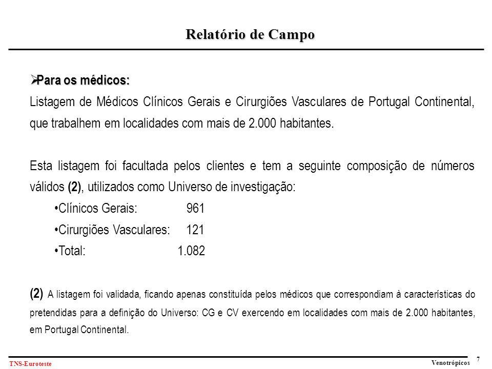 7 Venotrópicos TNS-Euroteste Relatório de Campo  Para os médicos: Listagem de Médicos Clínicos Gerais e Cirurgiões Vasculares de Portugal Continental, que trabalhem em localidades com mais de 2.000 habitantes.
