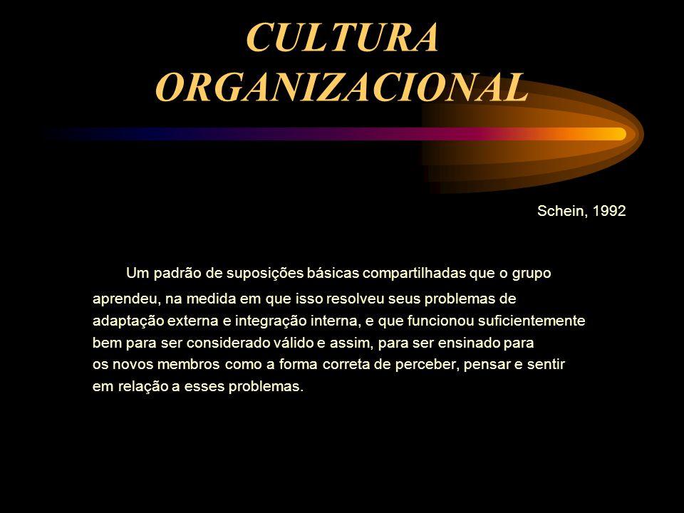 CULTURA ORGANIZACIONAL Schein, 1992 Um padrão de suposições básicas compartilhadas que o grupo aprendeu, na medida em que isso resolveu seus problemas