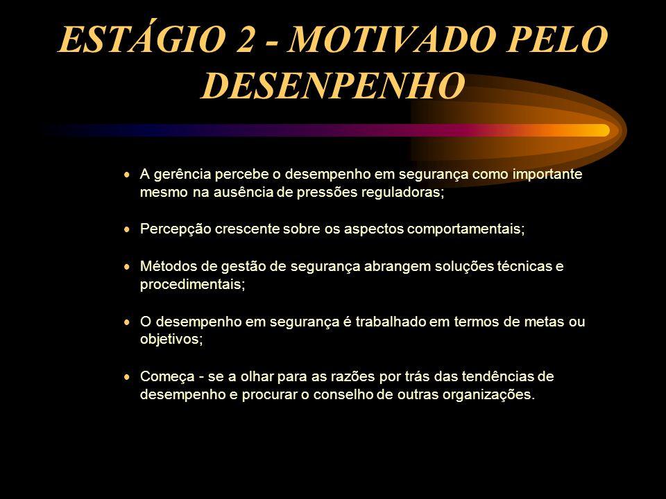 ESTÁGIO 2 - MOTIVADO PELO DESENPENHO  A gerência percebe o desempenho em segurança como importante mesmo na ausência de pressões reguladoras;  Perce