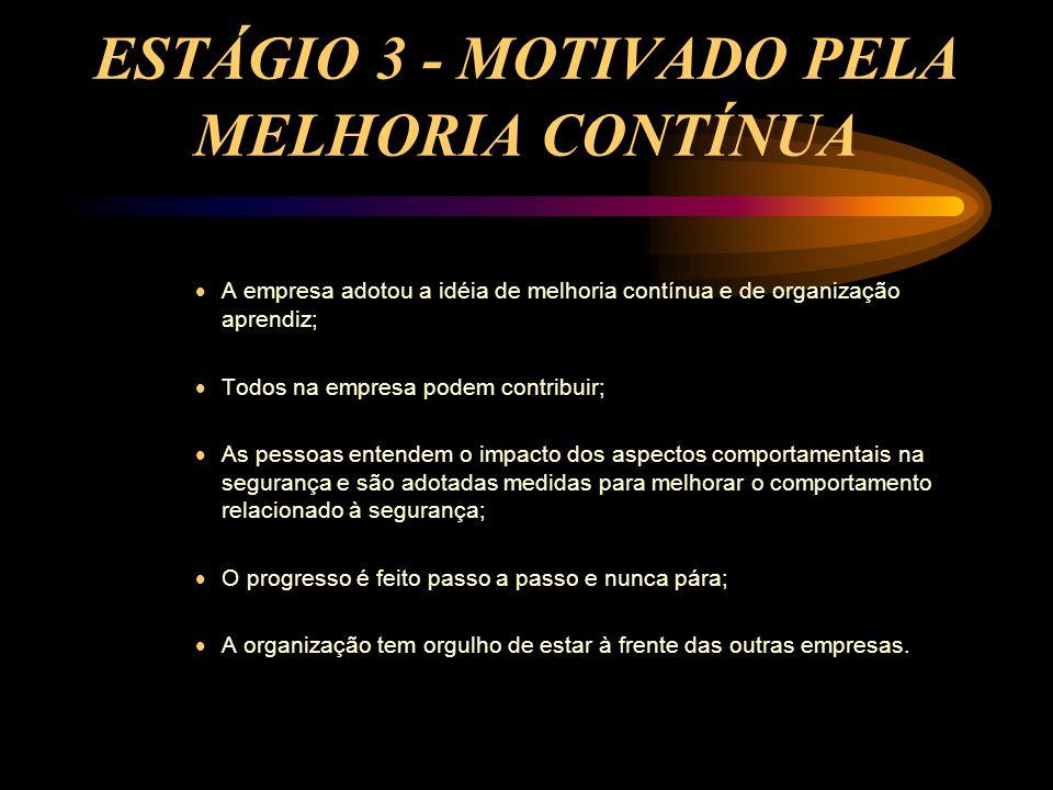 ESTÁGIO 3 - MOTIVADO PELA MELHORIA CONTÍNUA  A empresa adotou a idéia de melhoria contínua e de organização aprendiz;  Todos na empresa podem contri
