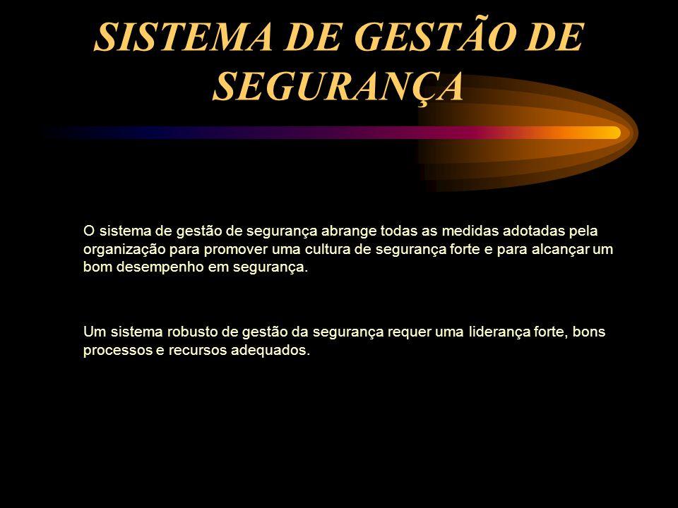 SISTEMA DE GESTÃO DE SEGURANÇA O sistema de gestão de segurança abrange todas as medidas adotadas pela organização para promover uma cultura de segura