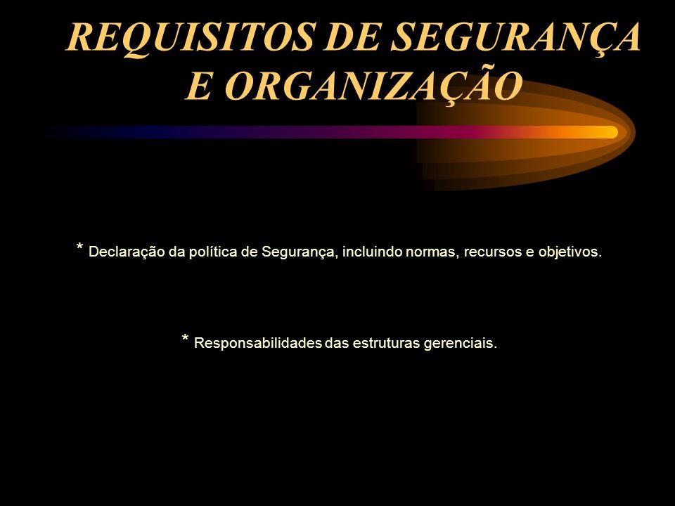 REQUISITOS DE SEGURANÇA E ORGANIZAÇÃO * Declaração da política de Segurança, incluindo normas, recursos e objetivos. * Responsabilidades das estrutura