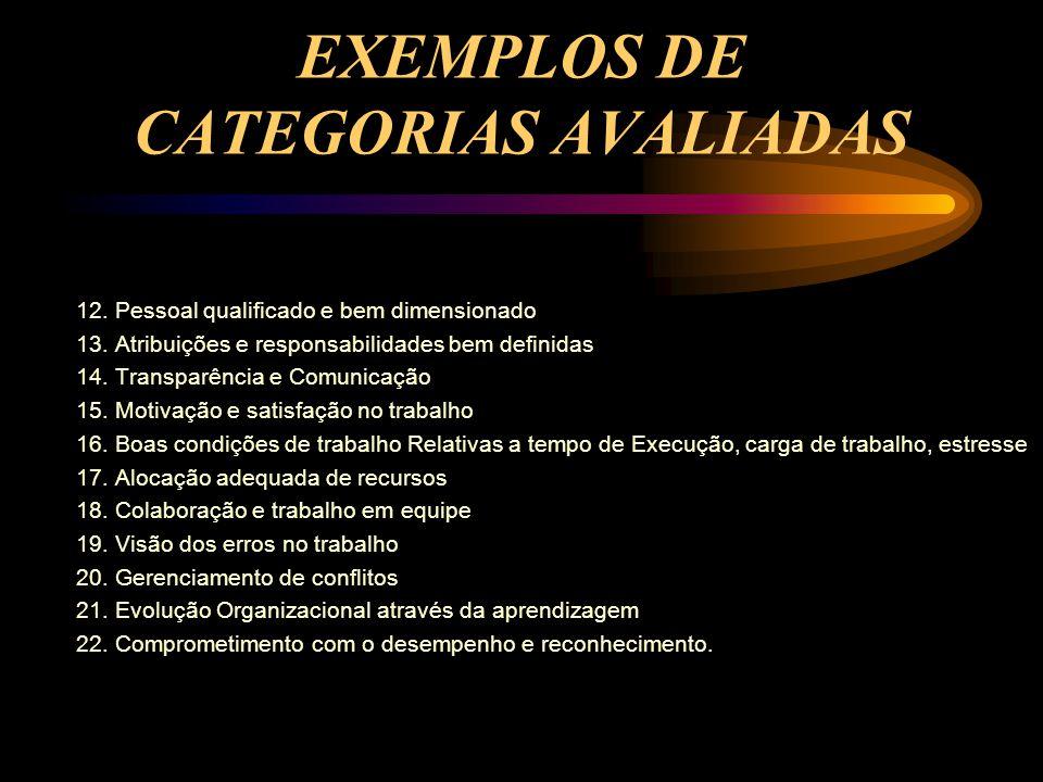 EXEMPLOS DE CATEGORIAS AVALIADAS 12. Pessoal qualificado e bem dimensionado 13. Atribuições e responsabilidades bem definidas 14. Transparência e Comu