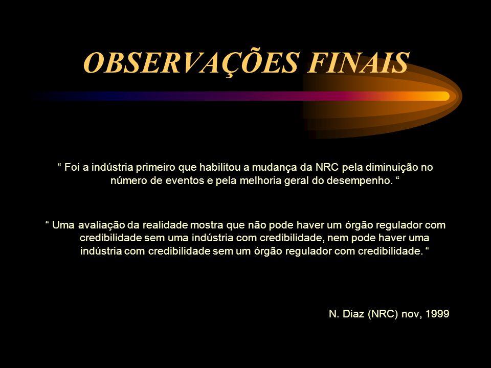 OBSERVAÇÕES FINAIS Foi a indústria primeiro que habilitou a mudança da NRC pela diminuição no número de eventos e pela melhoria geral do desempenho.