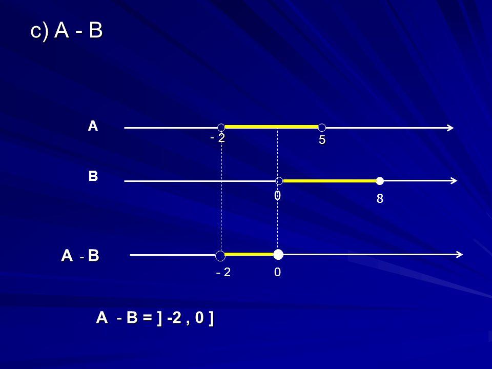 c) A - B 0 8 B 5 2 - 2 A A - B = ] -2, 0 ] A - B 0- 2