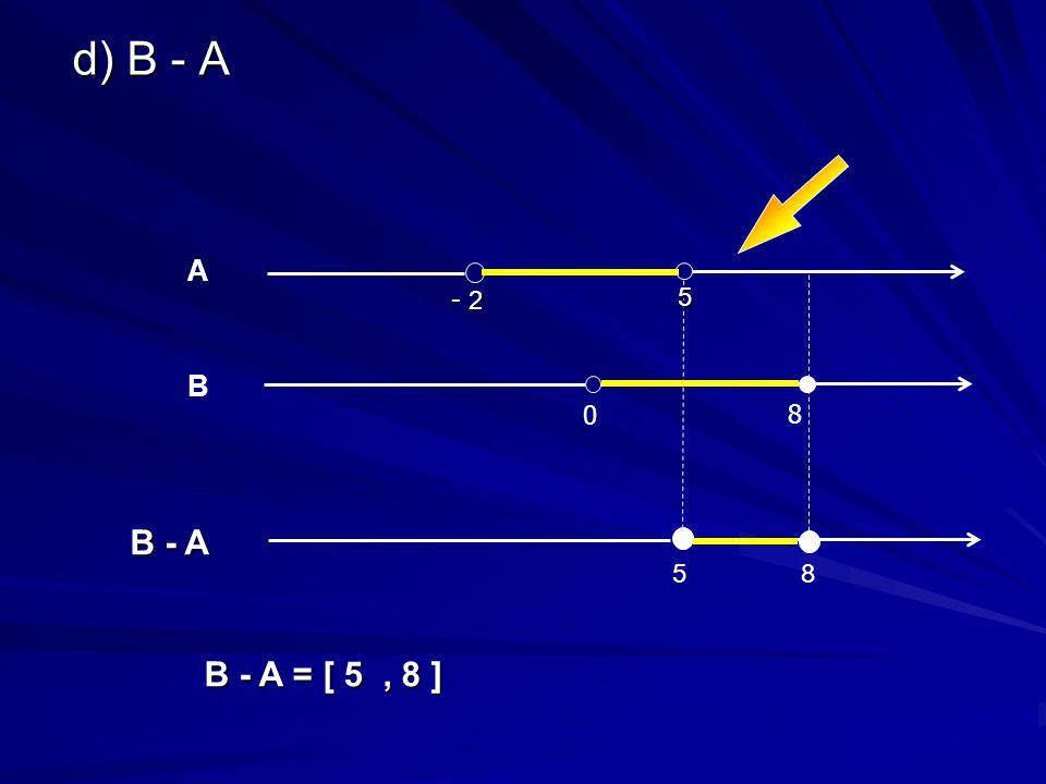 d) B - A B - A = [ 5, 8 ] 0 8 B B - A 8 5 5 A 2 - 2