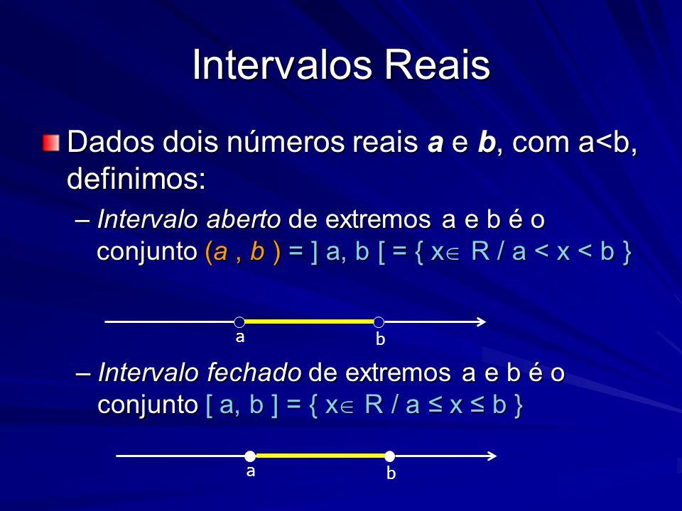 Intervalos Reais Dados dois números reais a e b, com a<b, definimos: –Intervalo aberto de extremos a e b é o conjunto (a, b ) = ] a, b [ = { x  R / a