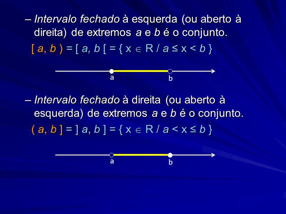 –Intervalo fechado à esquerda (ou aberto à direita) de extremos a e b é o conjunto. [ a, b ) = [ a, b [ = { x  R / a ≤ x < b } [ a, b ) = [ a, b [ =