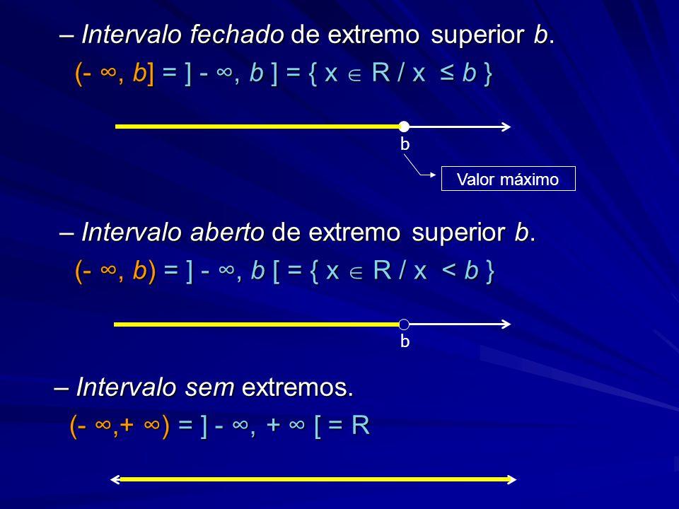 –Intervalo aberto de extremo superior b. (- ∞, b) = ] - ∞, b [ = { x  R / x < b } (- ∞, b) = ] - ∞, b [ = { x  R / x < b } b –Intervalo fechado de e