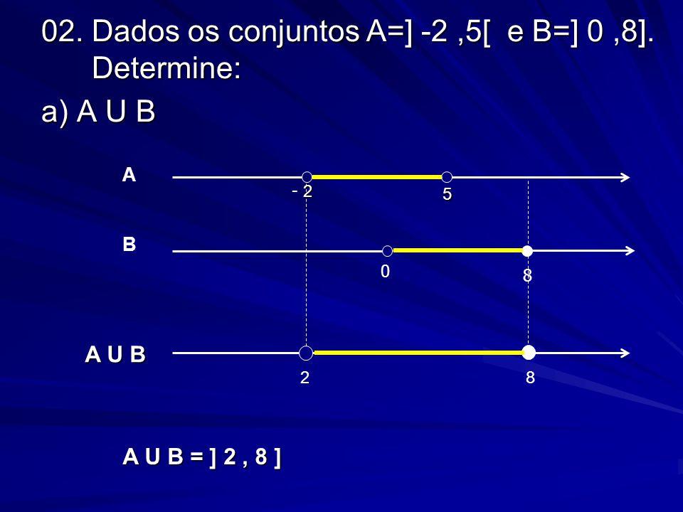 02. Dados os conjuntos A=] -2,5[ e B=] 0,8]. Determine: a) A U B 0 8 B 28 A U B 5 2 - 2 A A U B = ] 2, 8 ]